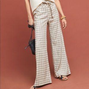 ANTHROPOLOGIE Wide High Waist Trouser Linen Stripe